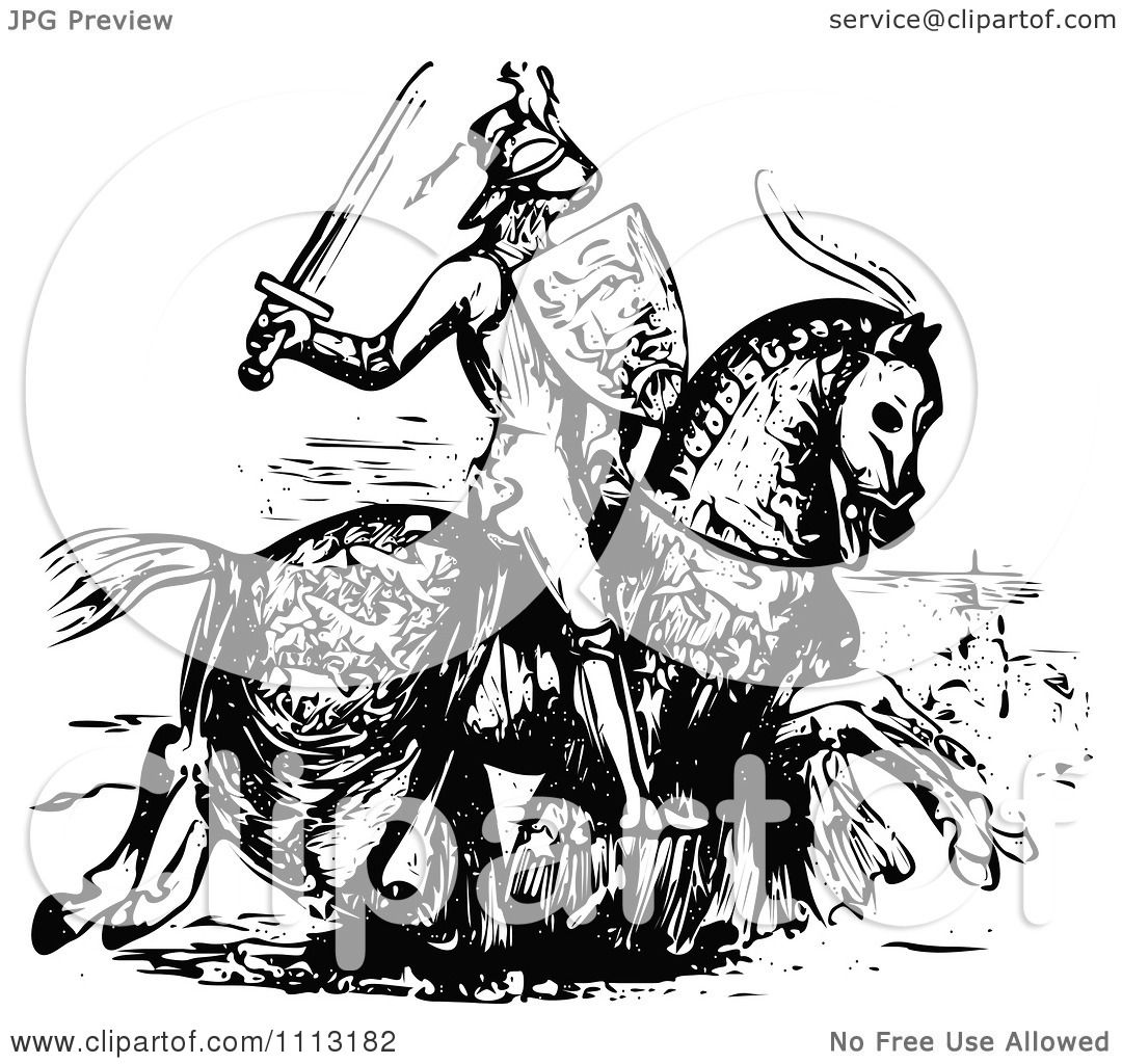 Clipart Vintage Black And White Me Val Knight On