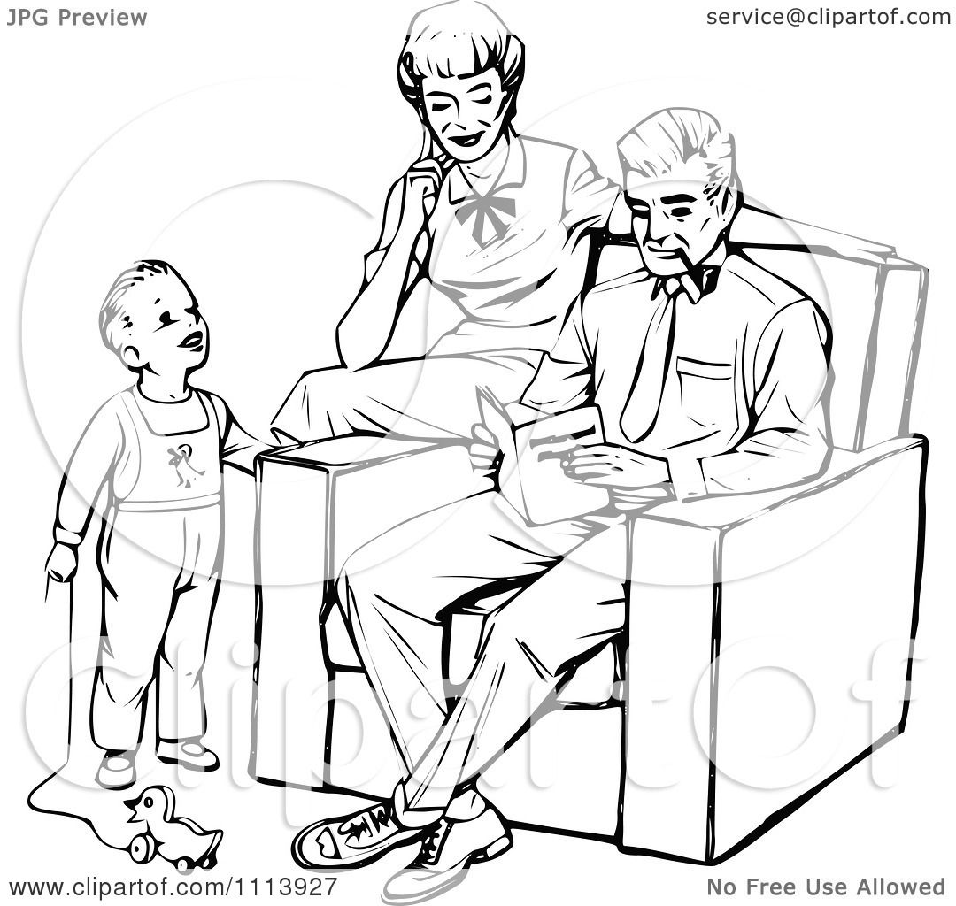 Clipart Vintage Black And White Mother And Father Reading