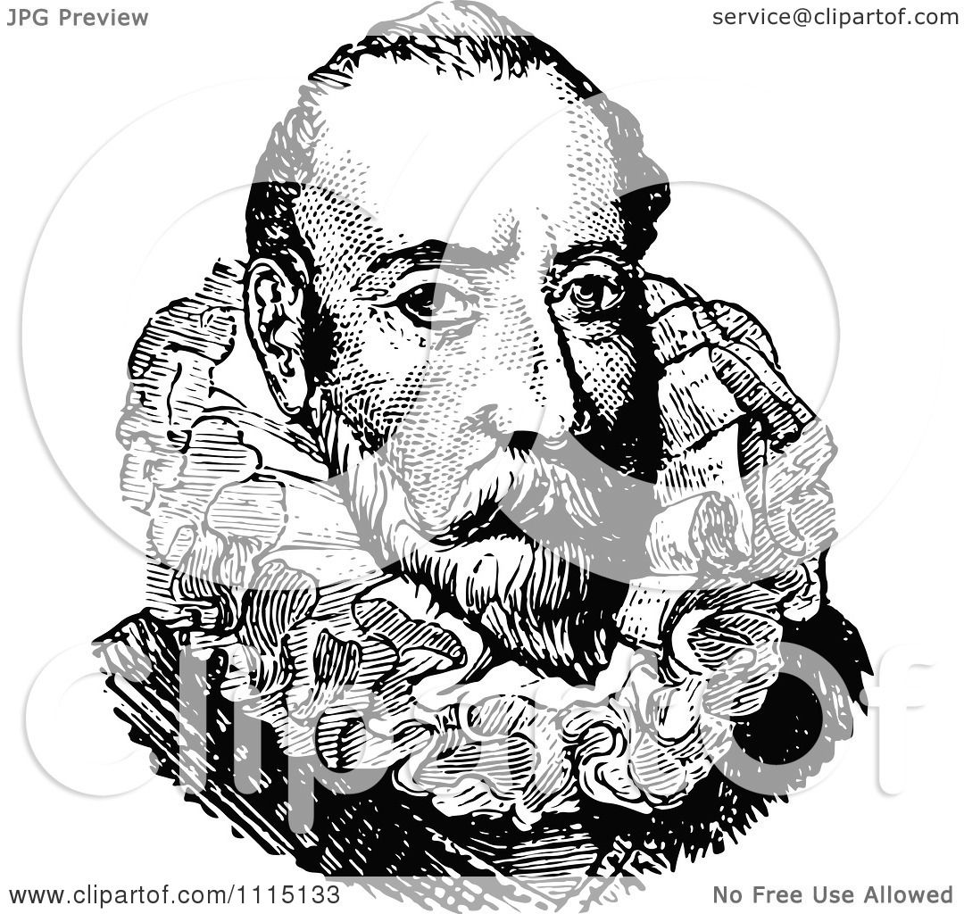 hight resolution of clipart vintage black and white portrait of christopher columbus royalty free vector illustration by prawny vintage
