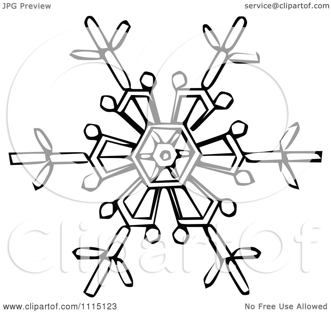 Clipart Vintage Black And White Snowflake 3
