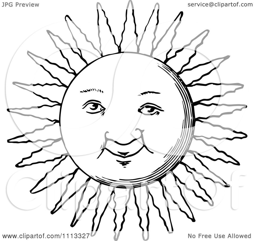 Clipart Vintage Black And White Sun Face