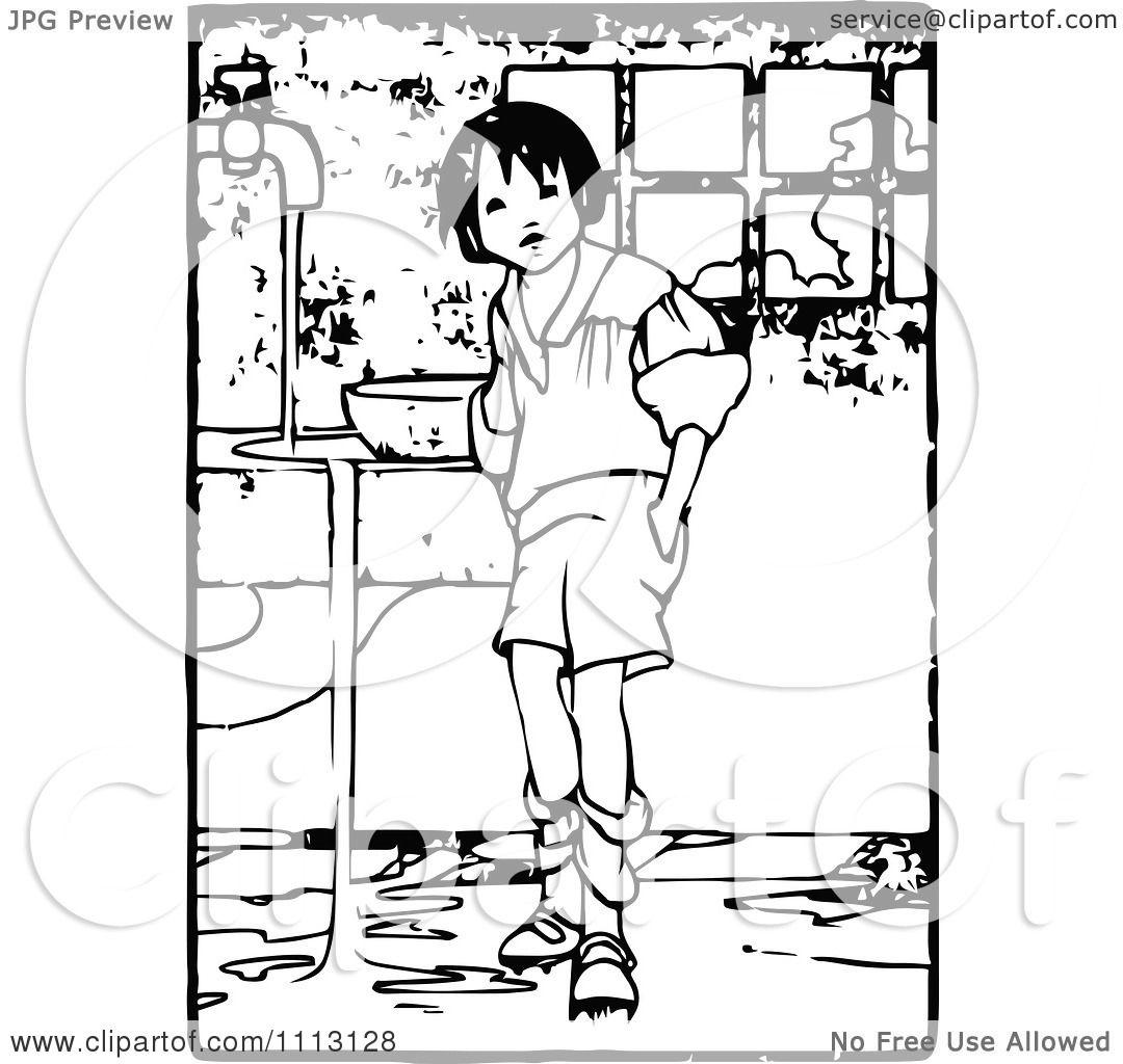 Clipart Vintage Boy Making A Mess