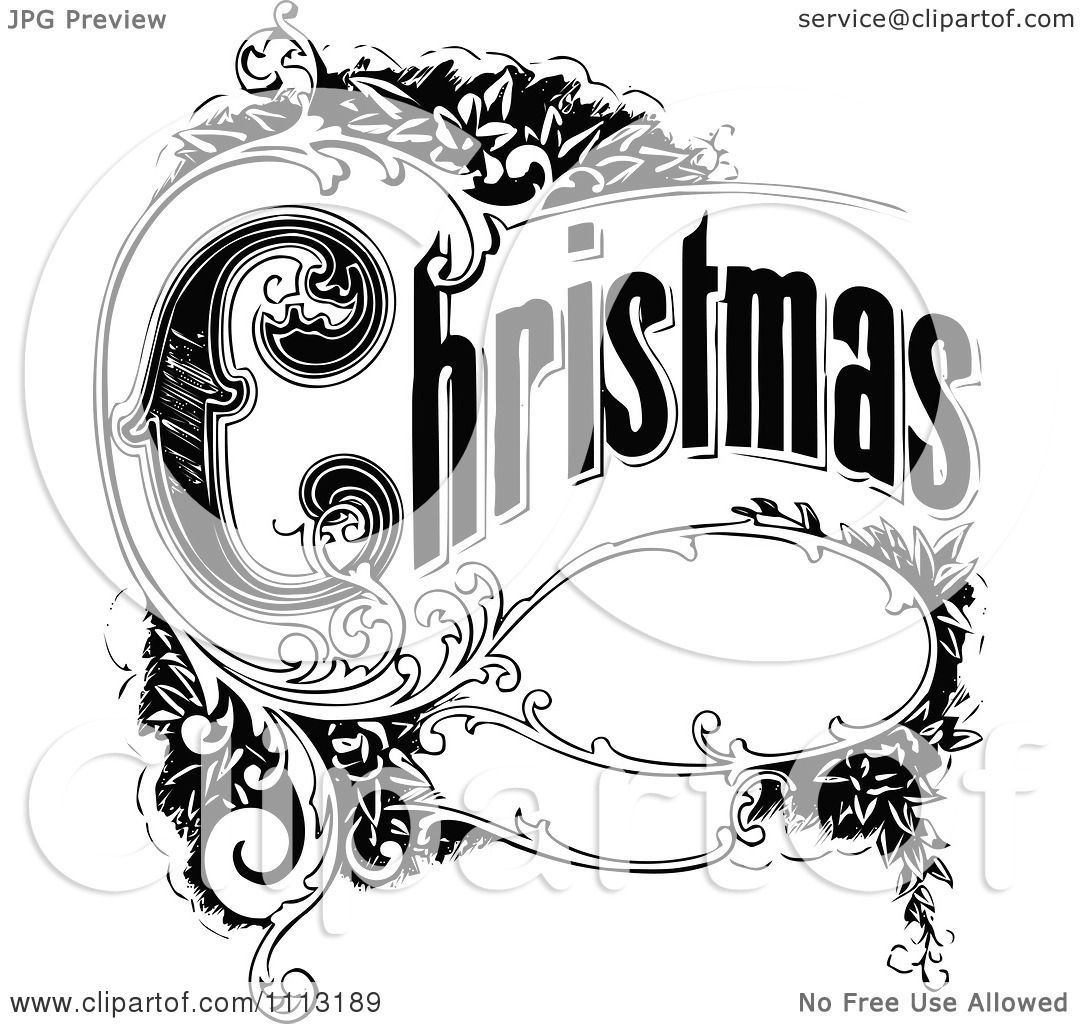 Clipart Vintage Christmas Sign With Ornate Elements