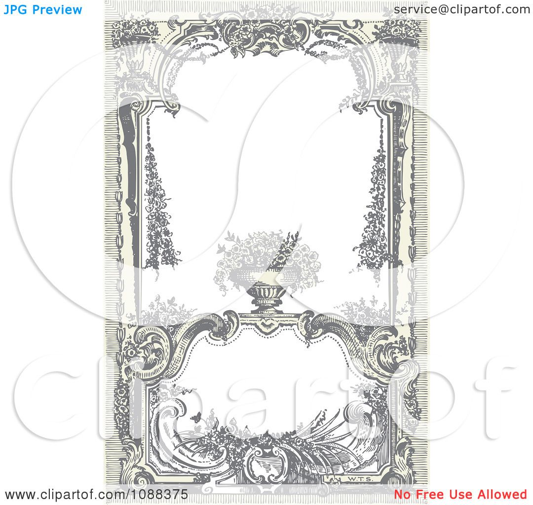Clipart Vintage Victorian Frame With A Floral Urn