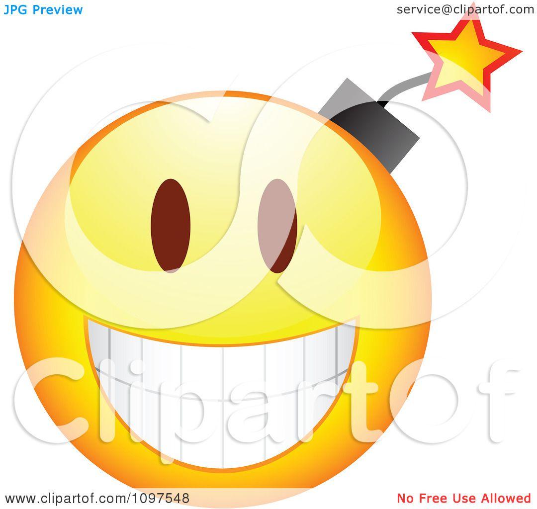 Clipart Yellow Bomb Cartoon Smiley Emoticon Face Royalty Free Vector Illustration By Beboy