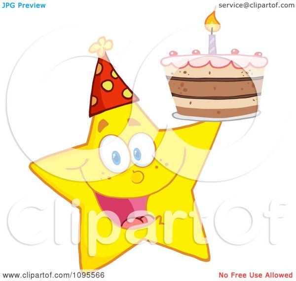Clipart Yellow Star Holding Birthday Cake - Royalty