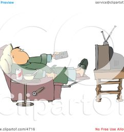 couch potato man holding the tv remote controller clipart by djart [ 1080 x 1024 Pixel ]