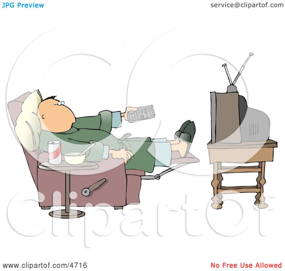medium resolution of couch potato man holding the tv remote controller clipart by djart