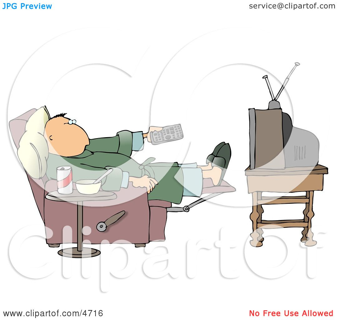 hight resolution of couch potato man holding the tv remote controller clipart by djart