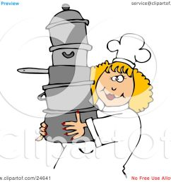 culinary clipart illustration of a happy blond chef woman in a white hat and uniform  [ 1080 x 1024 Pixel ]