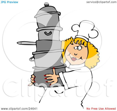 small resolution of culinary clipart illustration of a happy blond chef woman in a white hat and uniform
