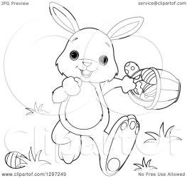 bunny rabbit easter basket clipart walking animal royalty vector adorable pushkin