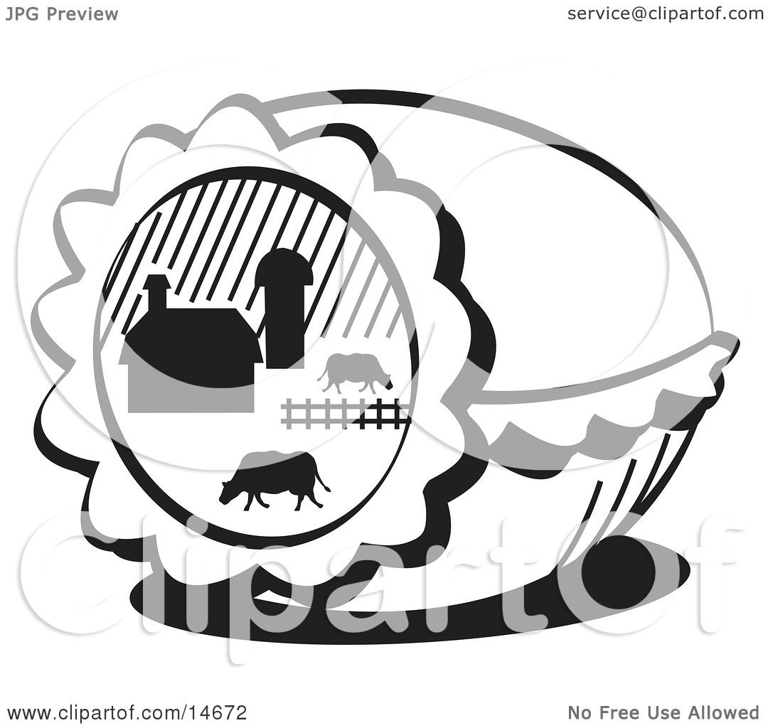 Easter Egg With A Farm Scene Of Cows Grazing In A Pasture