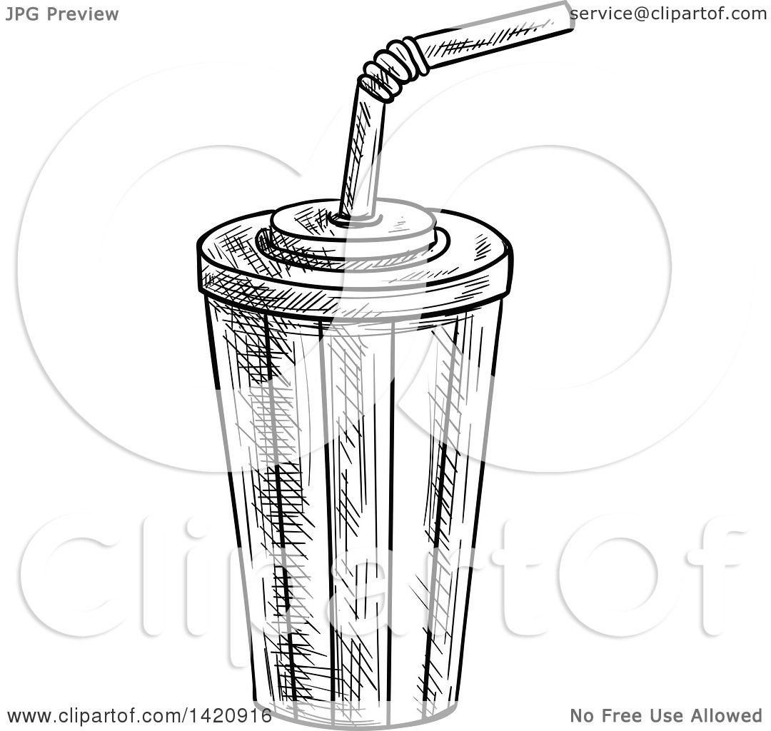 Fast Food Clipart Of A Black And White Sketched Fountain