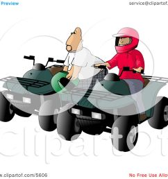 father and son man and boy riding atv four wheelers clipart illustration by djart [ 1080 x 1024 Pixel ]