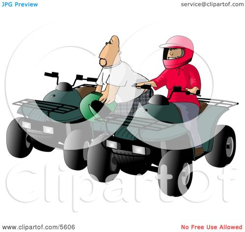 small resolution of father and son man and boy riding atv four wheelers clipart illustration by djart