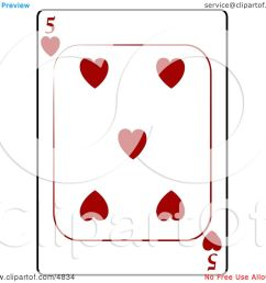 five 5 of hearts playing card clipart by djart [ 1080 x 1024 Pixel ]