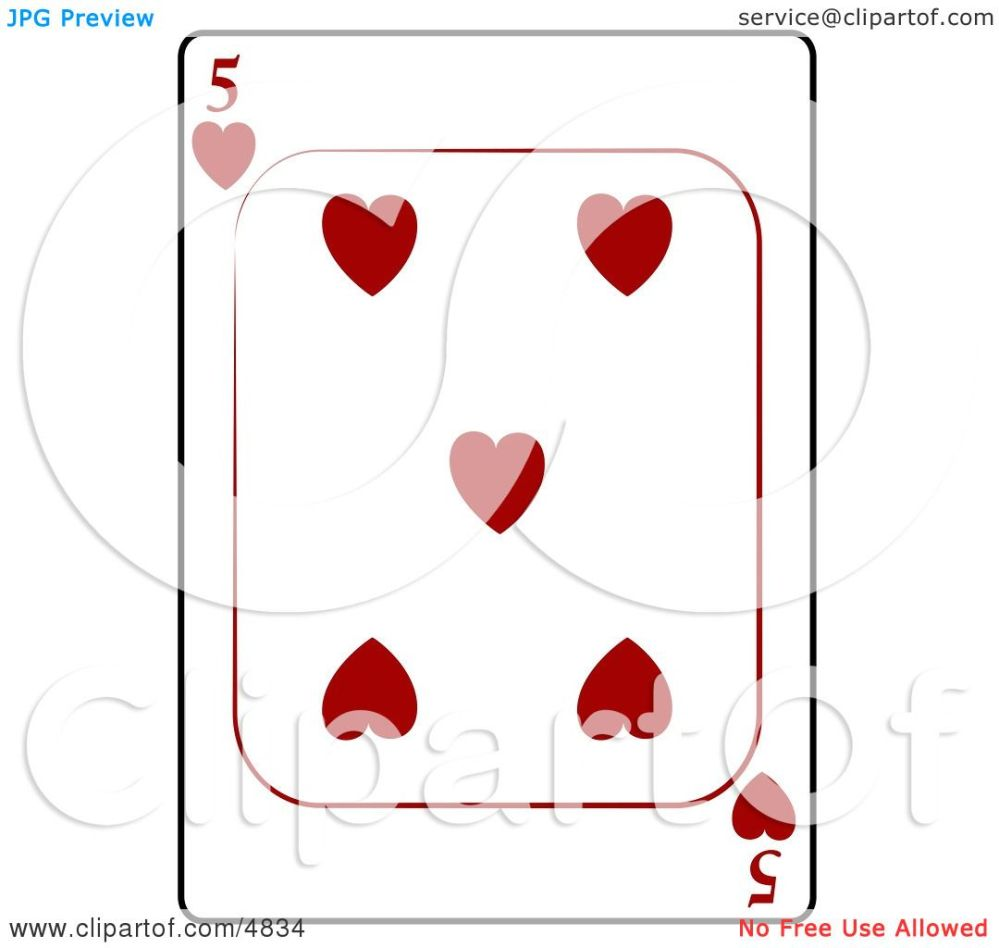 medium resolution of five 5 of hearts playing card clipart by djart
