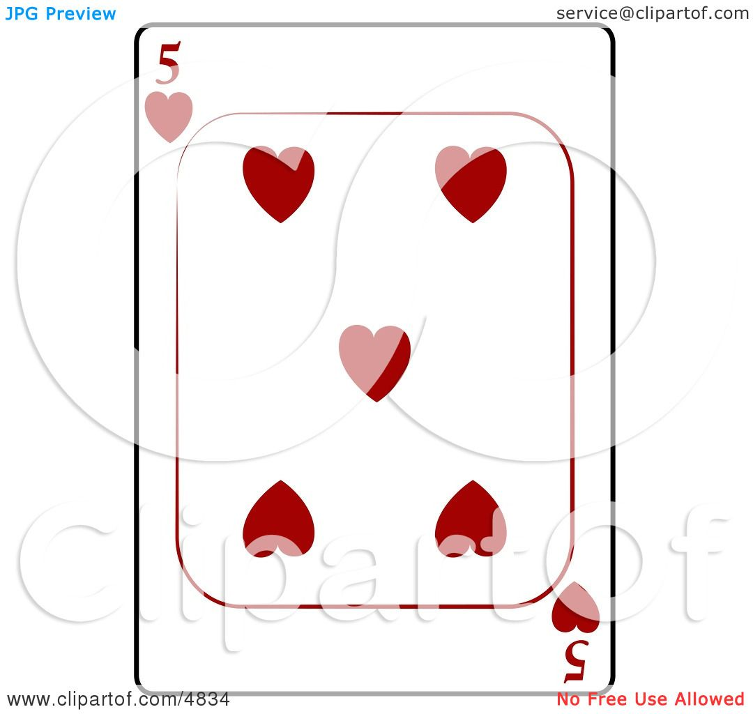 hight resolution of five 5 of hearts playing card clipart by djart