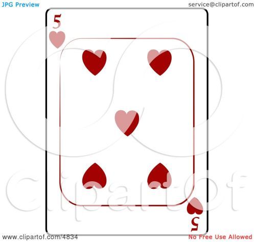 small resolution of five 5 of hearts playing card clipart by djart