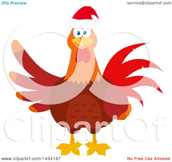 Flat Design Style Clipart Of Christmas Chicken Rooster Bird Wearing Santa Hat - Royalty Free