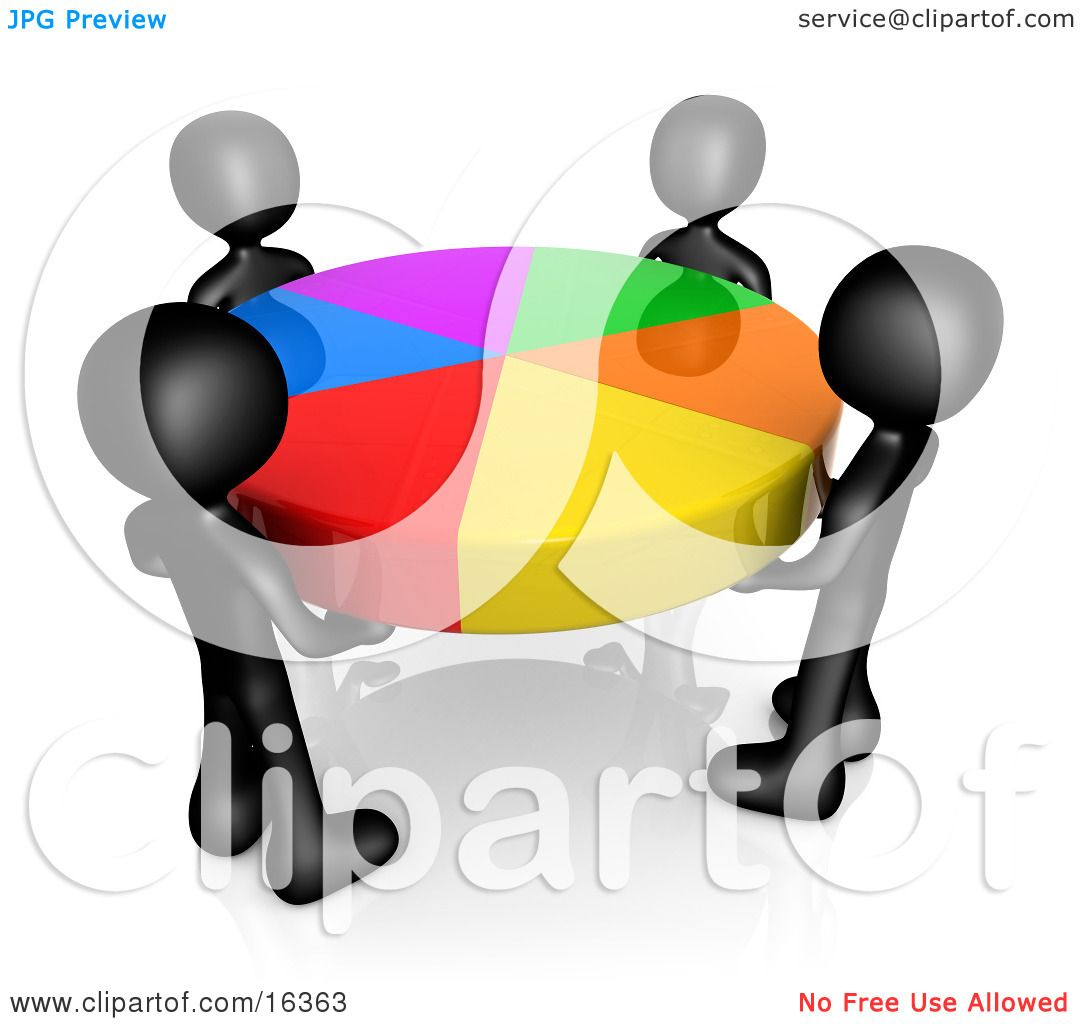 hight resolution of group of four black people holding a colorful pie chart clipart illustration graphic by 3pod