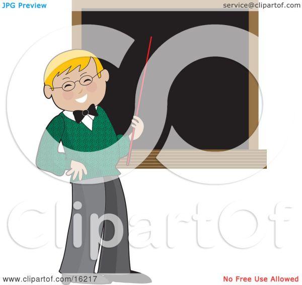 Happy Blond Male School Teacher In Green Sweater