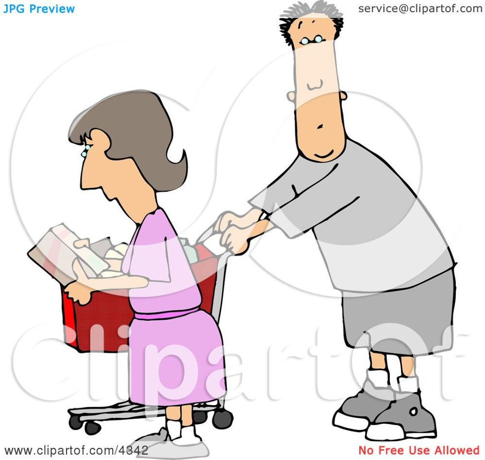 medium resolution of husband and wife grocery shopping clipart by djart