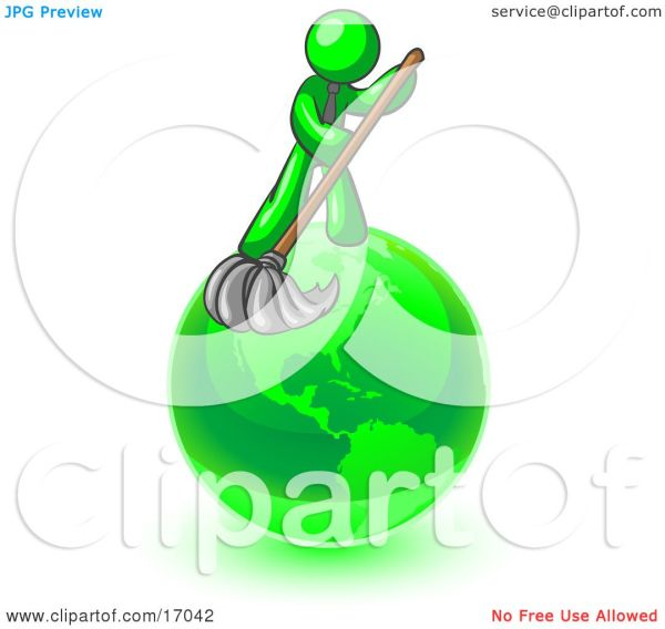 Lime Green Man Wet Mop With Cleaning
