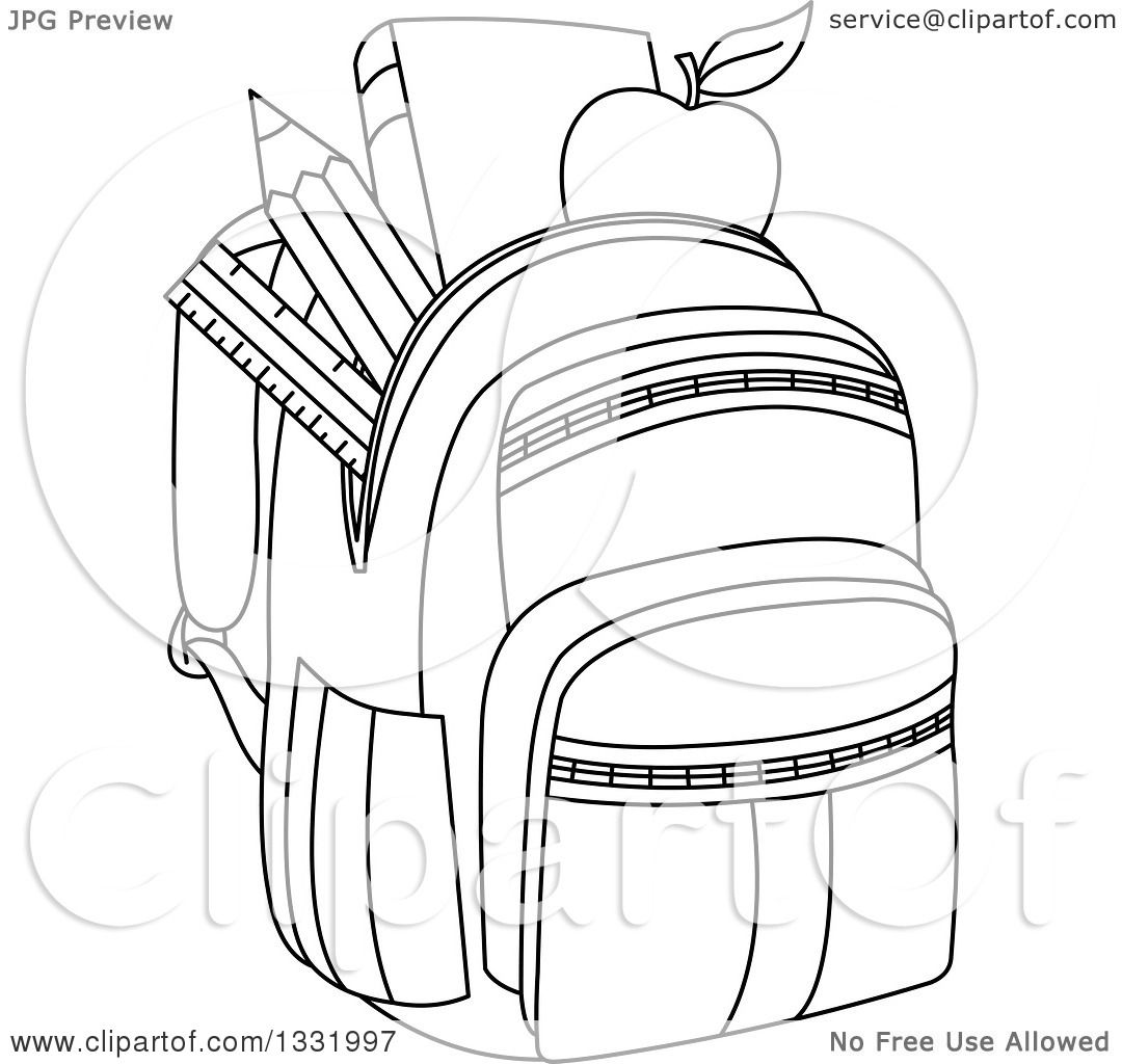 Lineart Clipart Of A Black And White Backpack Stuffed With School Supplies