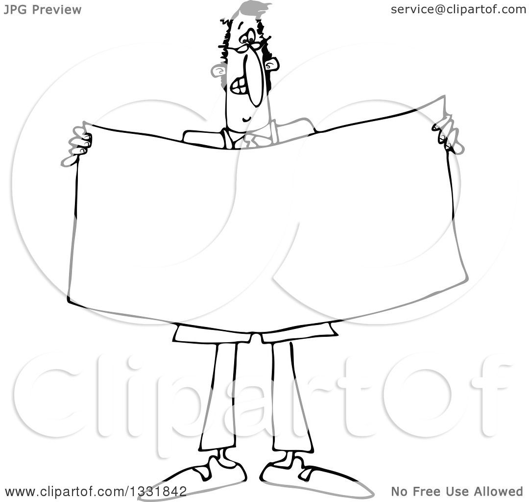 Lineart Clipart Of A Cartoon Black And White Business Man