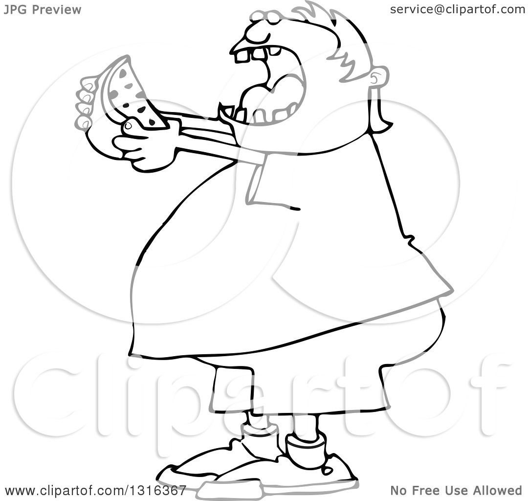 Lineart Clipart Of A Cartoon Black And White Chubby Boy