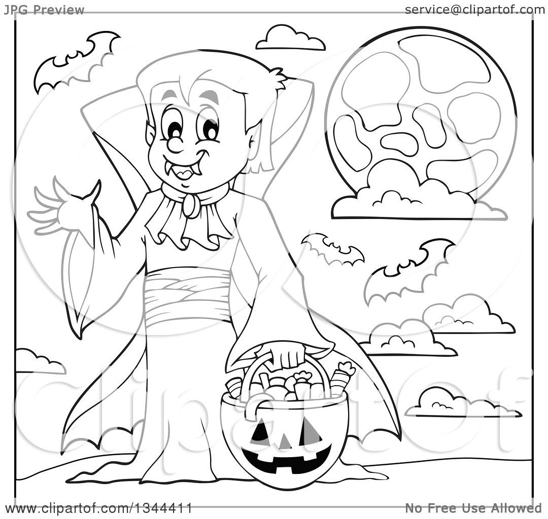 Lineart Clipart Of A Cartoon Black And White Dracula