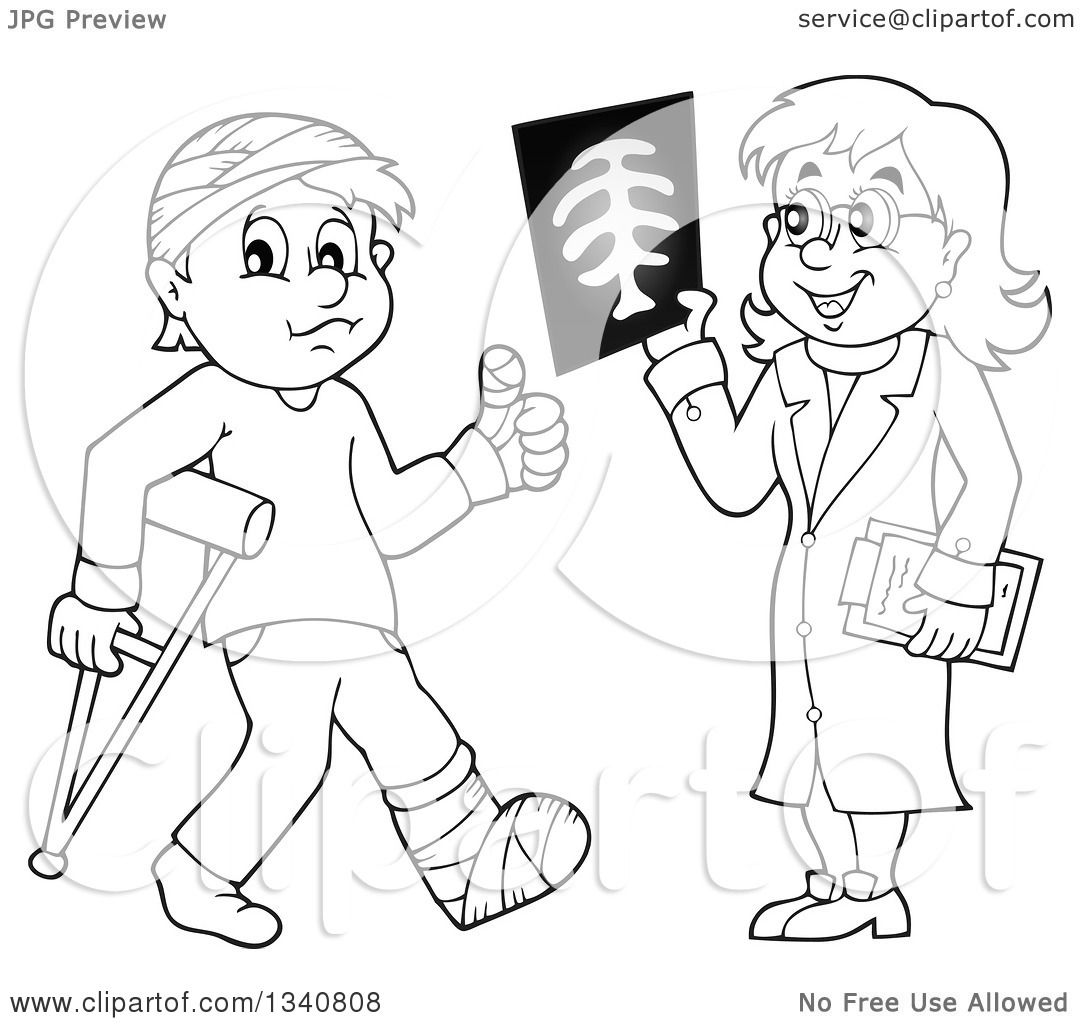 Lineart Clipart Of A Cartoon Black And White Female Doctor