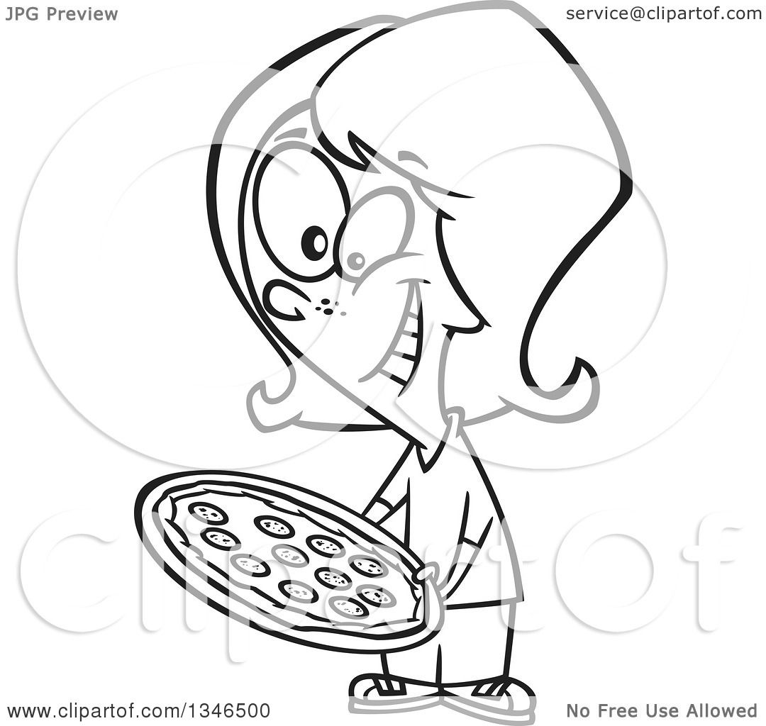 Lineart Clipart Of A Cartoon Black And White Girl Holding