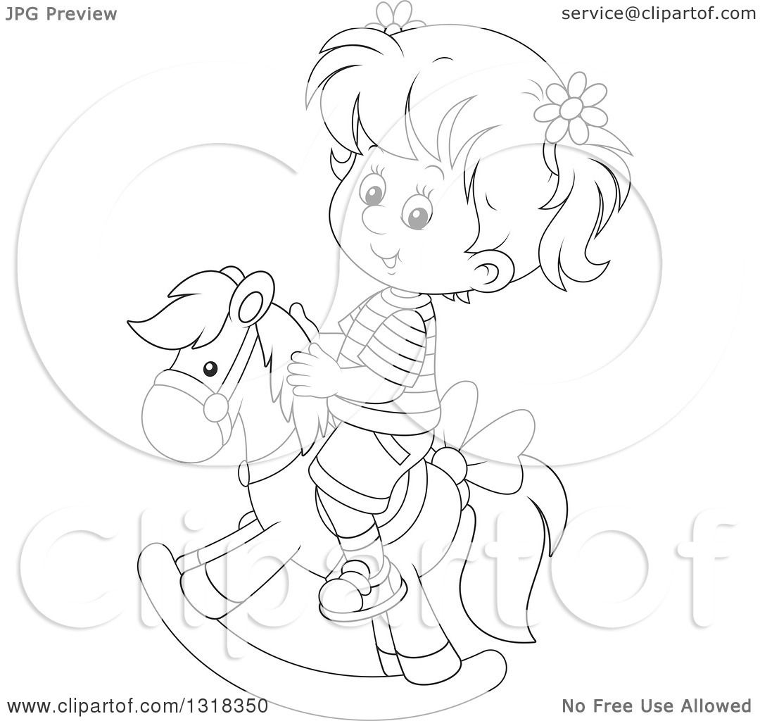 Lineart Clipart Of A Cartoon Black And White Girl Playing
