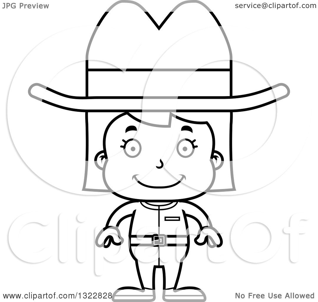 Lineart Clipart Of A Cartoon Black And White Happy Cowgirl