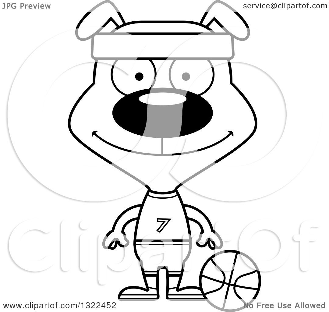 Lineart Clipart Of A Cartoon Black And White Happy Dog Basketball Player