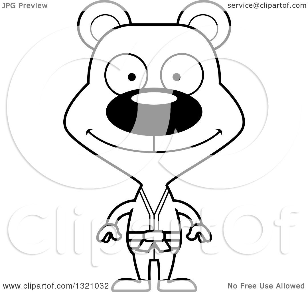 Lineart Clipart Of A Cartoon Black And White Happy Karate