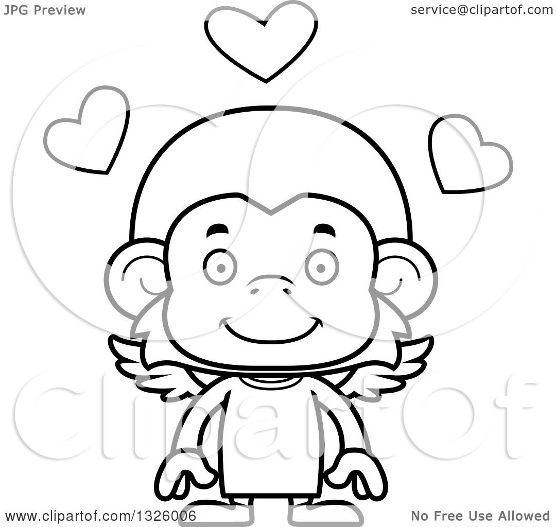 Lineart Clipart Of A Cartoon Black And White Happy Monkey
