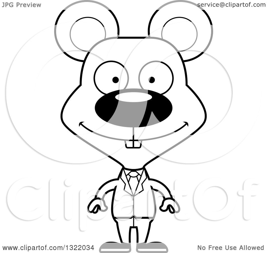 Lineart Clipart Of A Cartoon Black And White Happy Mouse Business Man