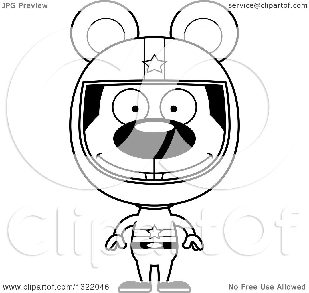 Lineart Clipart Of A Cartoon Black And White Happy Mouse Race Car Driver
