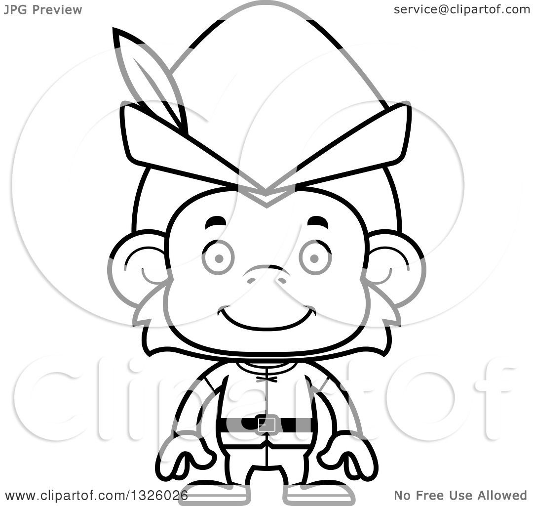 Lineart Clipart Of A Cartoon Black And White Happy Robin