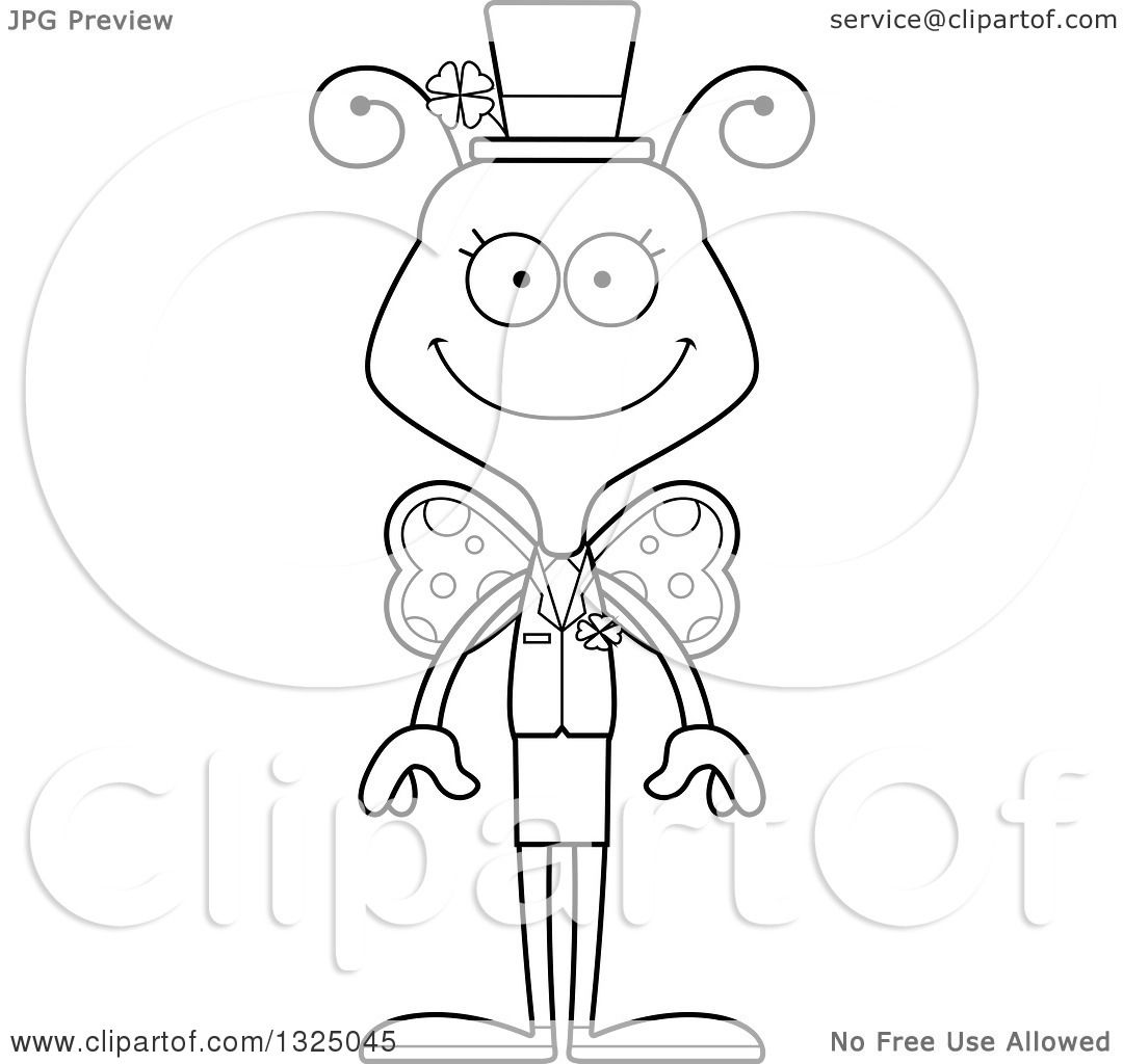 Lineart Clipart Of A Cartoon Black And White Happy St Patricks Day Butterfly