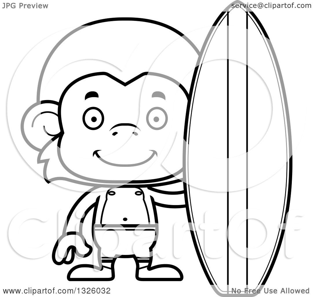 Lineart Clipart Of A Cartoon Black And White Happy Surfer