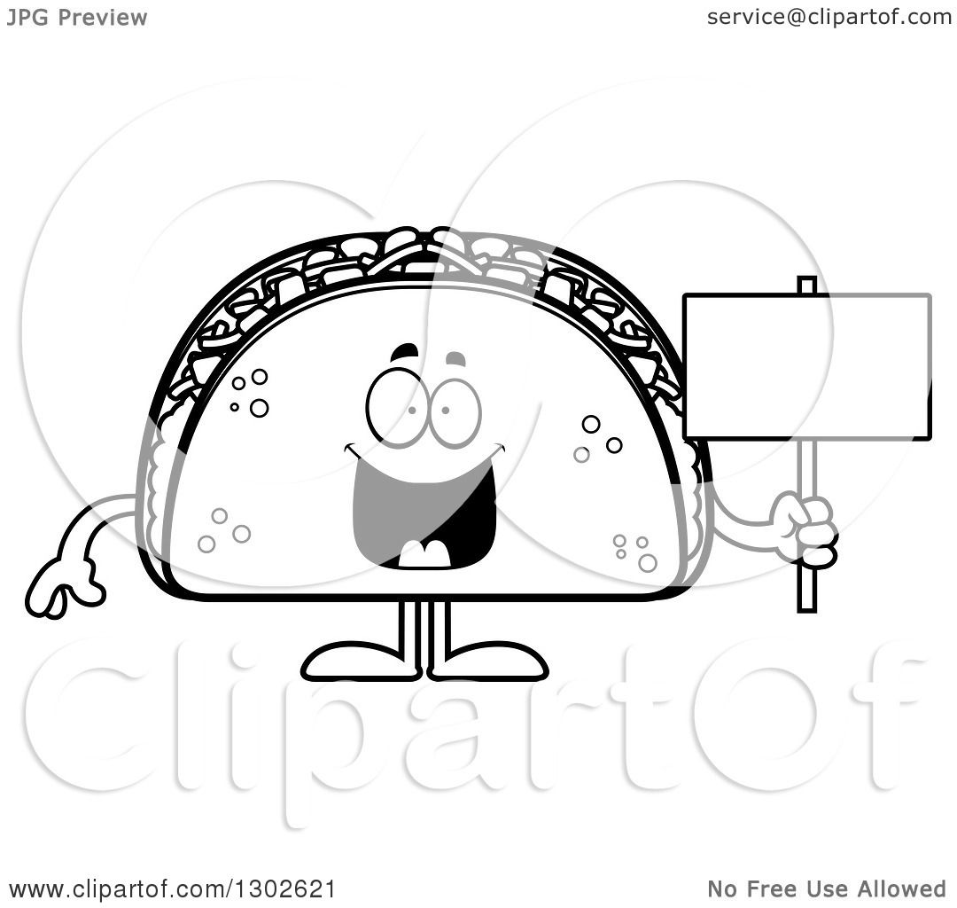 Lineart Clipart Of A Cartoon Black And White Happy Taco