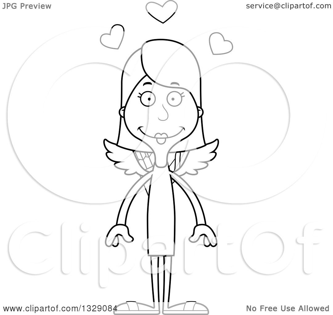 Lineart Clipart Of A Cartoon Black And White Happy Tall