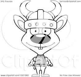 rabbit cartoon clipart viking happy outline thoman cory lineart vector