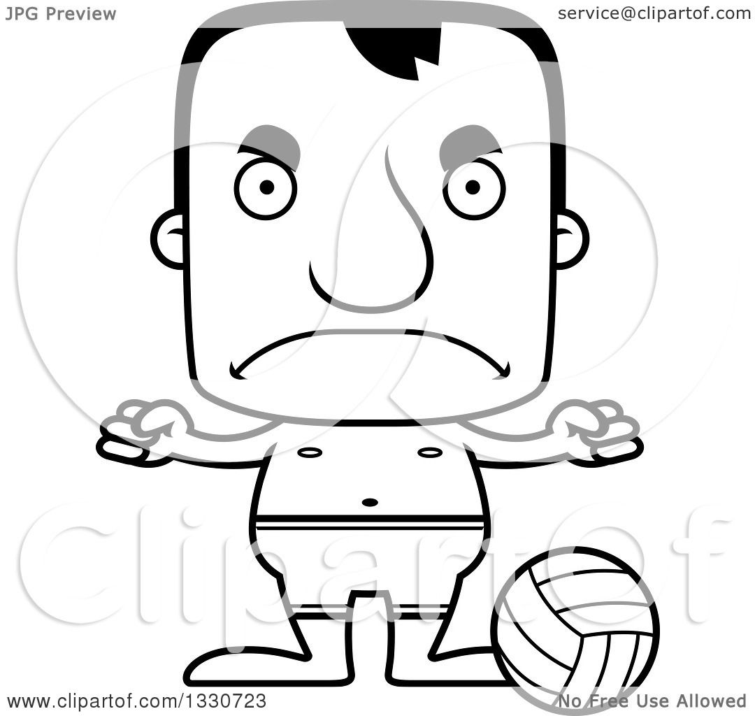 Lineart Clipart Of A Cartoon Black And White Mad Block