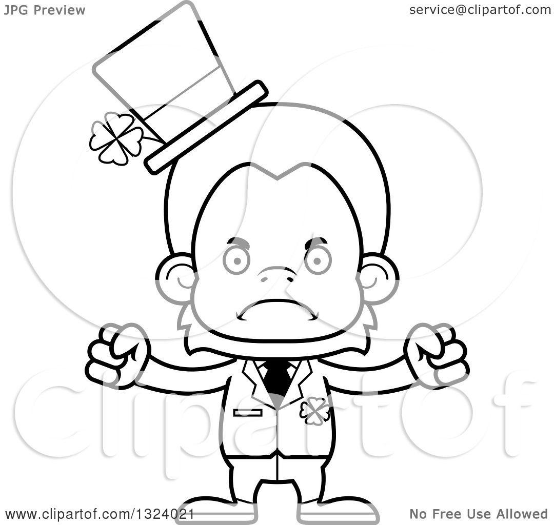 Lineart Clipart Of A Cartoon Black And White Mad St Patricks Day Orangutan Monkey